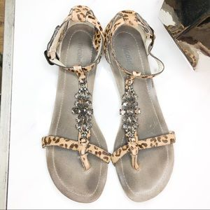 Nicole cheetah printed size 10 leather sandals.